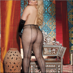 Power Fishnet with Rhinestone Up Back Seam