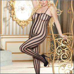 Striped Fishnet Bodystocking