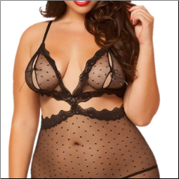 Dotted Mesh & Lace Chemise