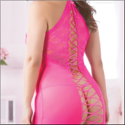 Pink Lace Chemise with Thong