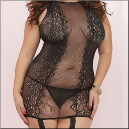 Seamless Black Floral Lace Bodystocking