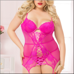 Lace And Mesh Chemise W/Garter