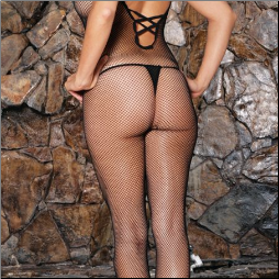 Seamless Fishnet Criss Cross Back Bodystocking