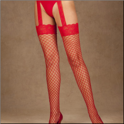 Diamond Net Thigh High with Garter