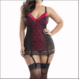 Molded Cup Babydoll with Lace Up and G-string