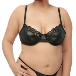 Plus Size Leather & Lace Bra