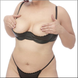 Lace Trimmed Plus Size Leather Shelf Bra