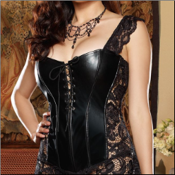 Satin Corset with Delicate Venetian Lace High-Low Skirted Bottom and Matching Thong