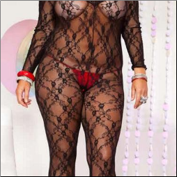 Plus Size Lace Bodystocking, Music Legs