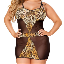 Cheetah Mini Dress with Lace G-String