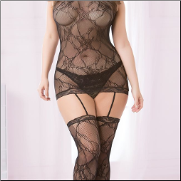 Chemise Bodystocking with Garters