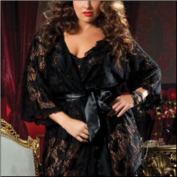 Paisley Pleasure Lace Robe - Plus Sizes
