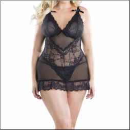 Soft Cup Lace Babydoll and G-string,