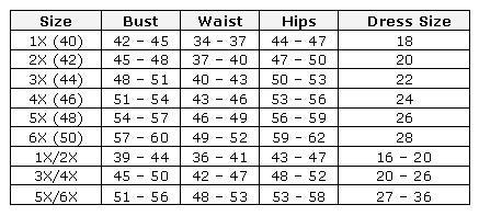 Plus Size Lingerie Size Chart for Shirley of Hollywood Chemise