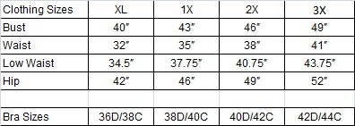 Size Chart - Plus Size Leather