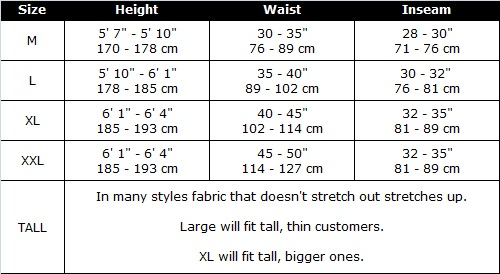 Men in Tights - Mantyhose  Size Chart