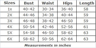 Plus Size Clothing Size Chart for SWAK Pretty Maxi Dress
