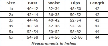 Plus Size Clothing Size Chart by SWAK for the Whitney Cutout Dress