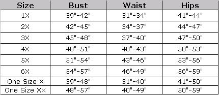 Plus Size Lingerie Size Chart for Plus Size Camisole
